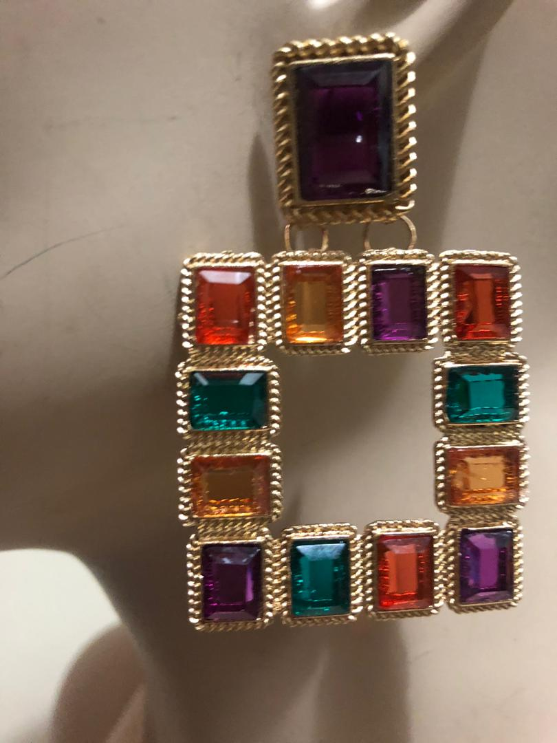 Multi-Stone Colors Fashion Earrings