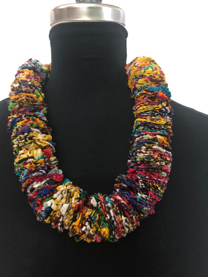 African Fabric Multi Pieces Necklace