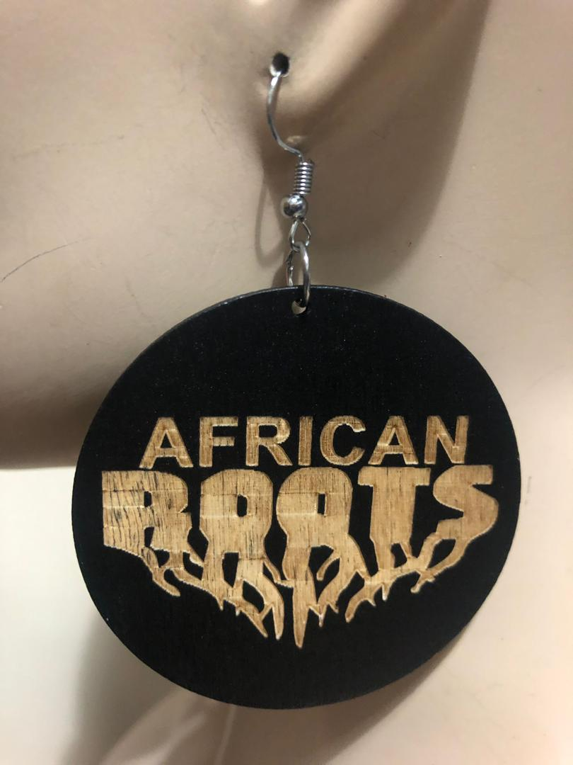 African Roots Wood Earrings