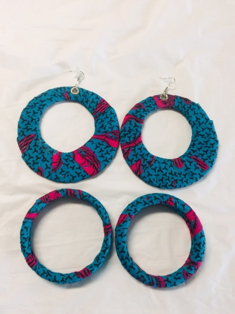 Fabric Earrings And Bangles Blue Mix Set