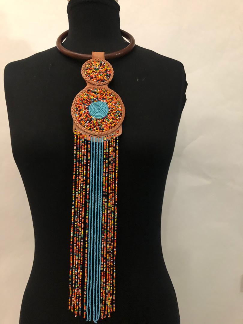 Leather Two-Step Bead Necklace