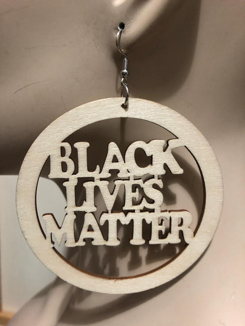 Black Lives Matter Big Wood Earring