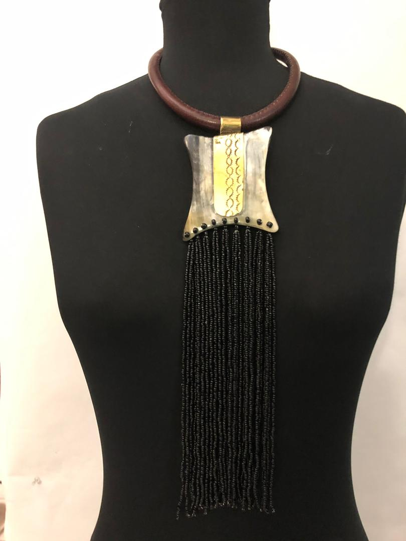 Leather Bone Drip Necklace