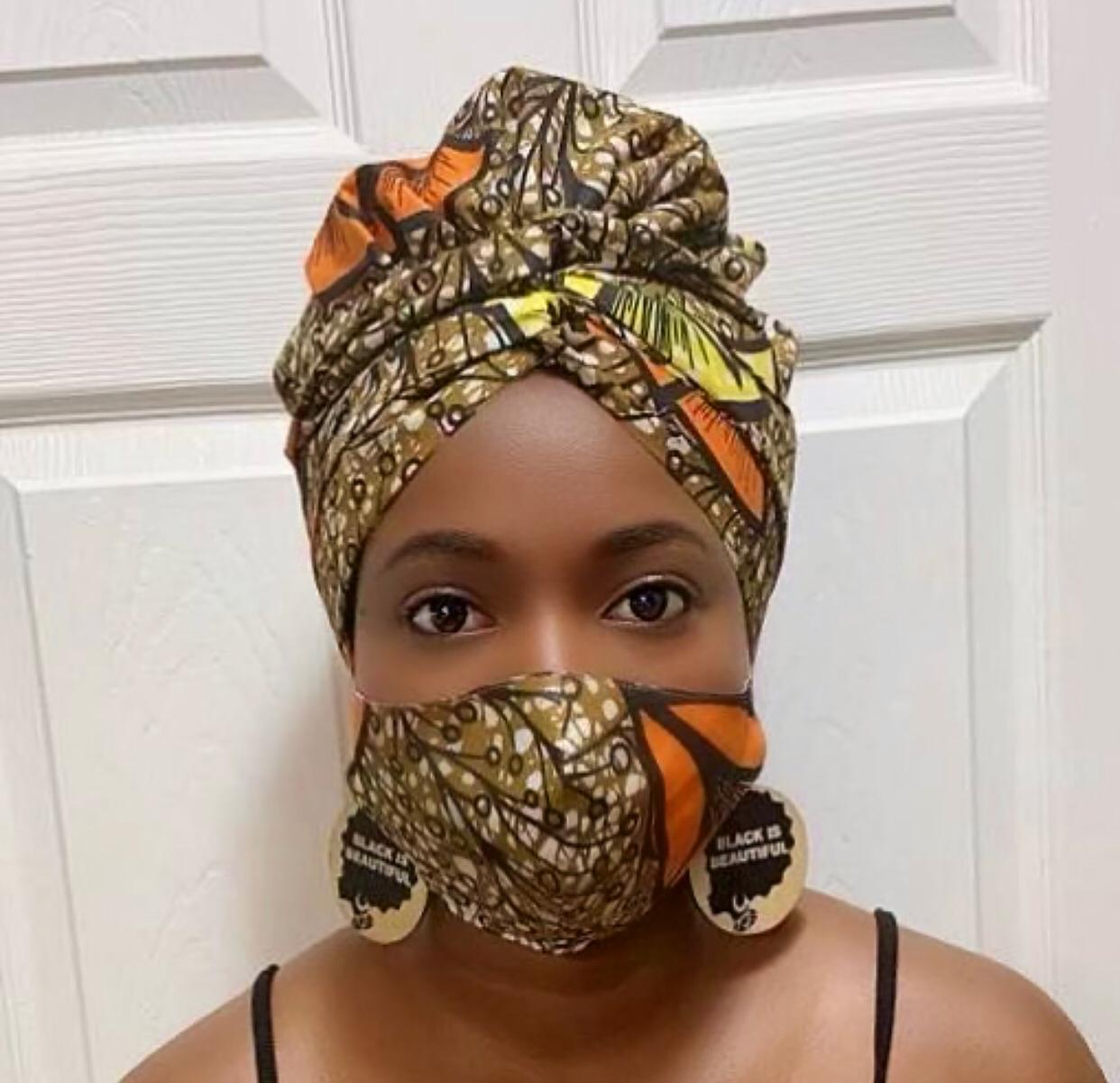Coral Turban Wrap and Face Mask