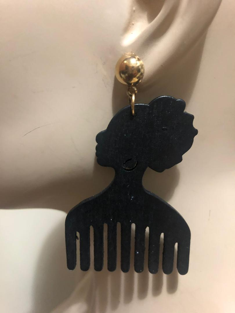 Head Combs Wood Earrings