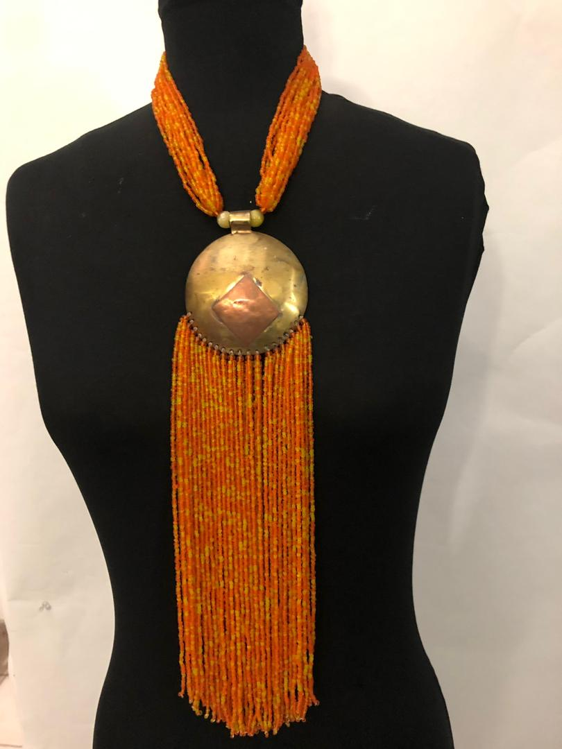 Bronze Bead Drip Necklace