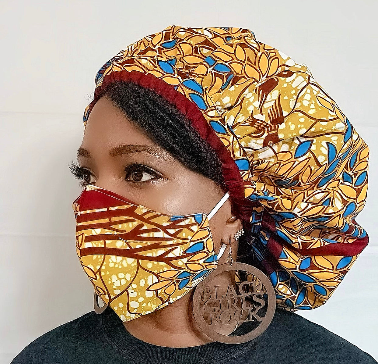 Zinga African Bonnet and Face Mask