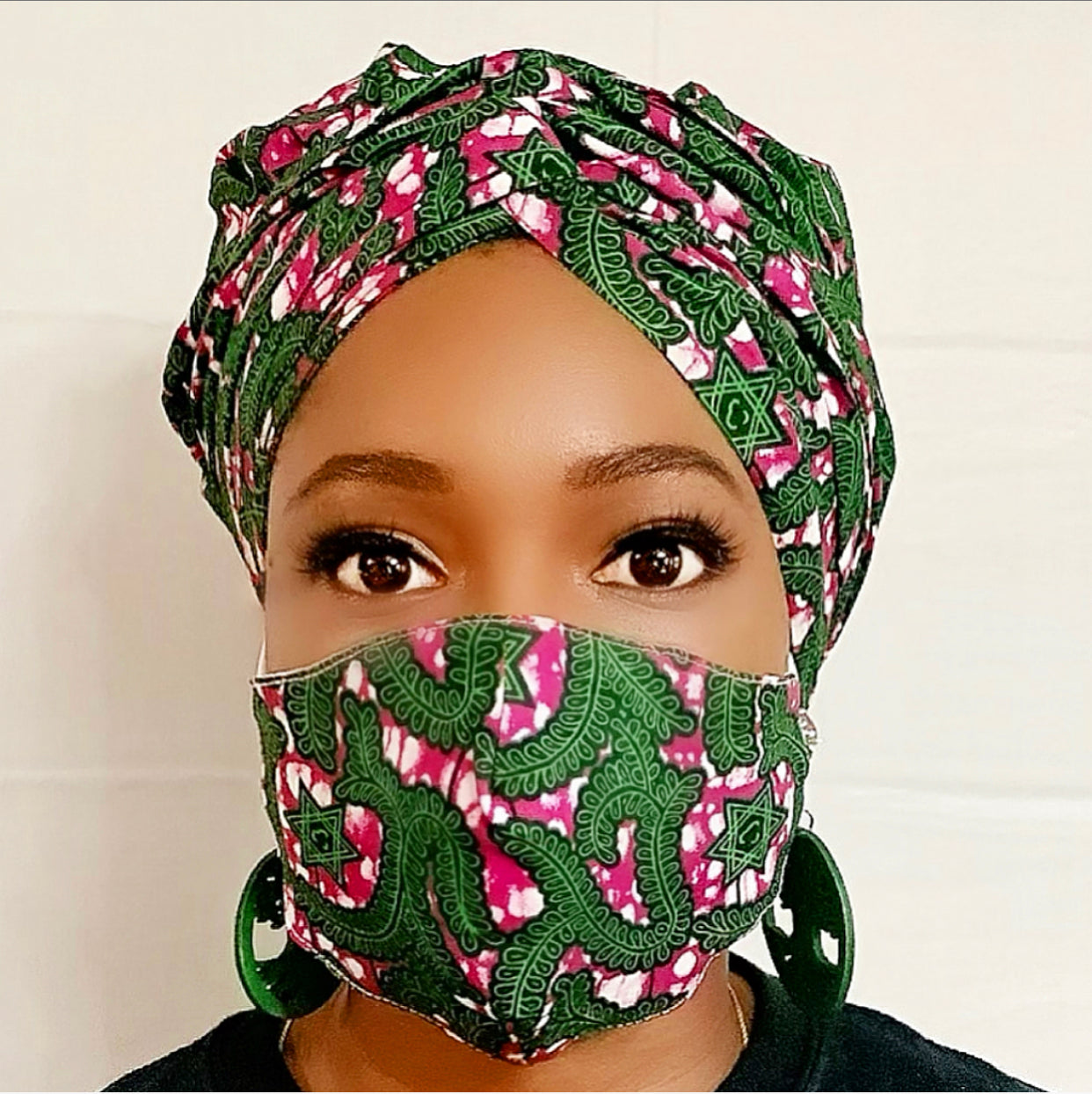 Cadmium Green Turban Wrap and Face Mask With Filter