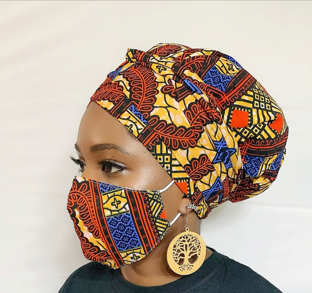 Star Turban Wrap and Face Mask With Filter