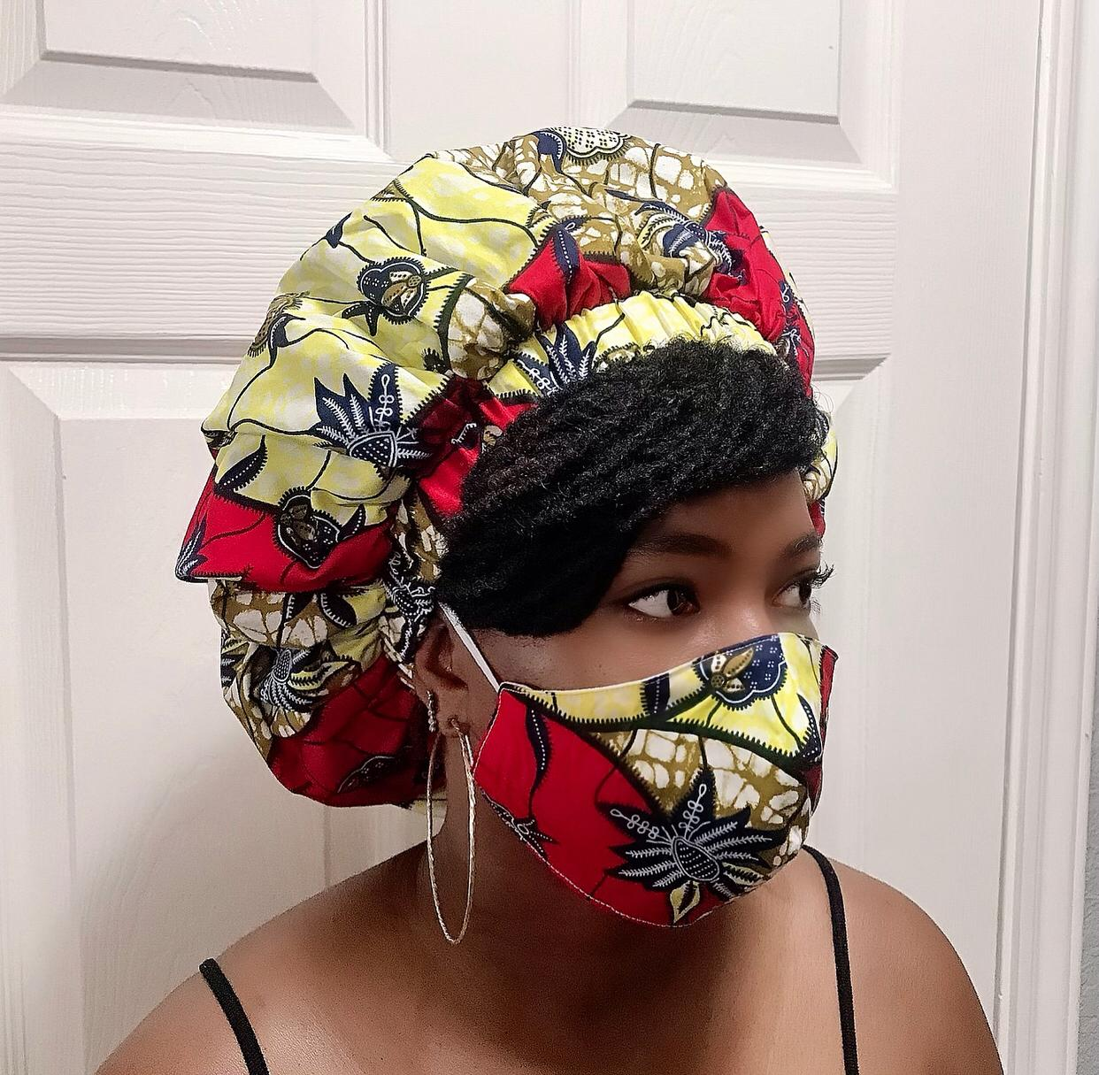 Kosi African Bonnet and Face Mask