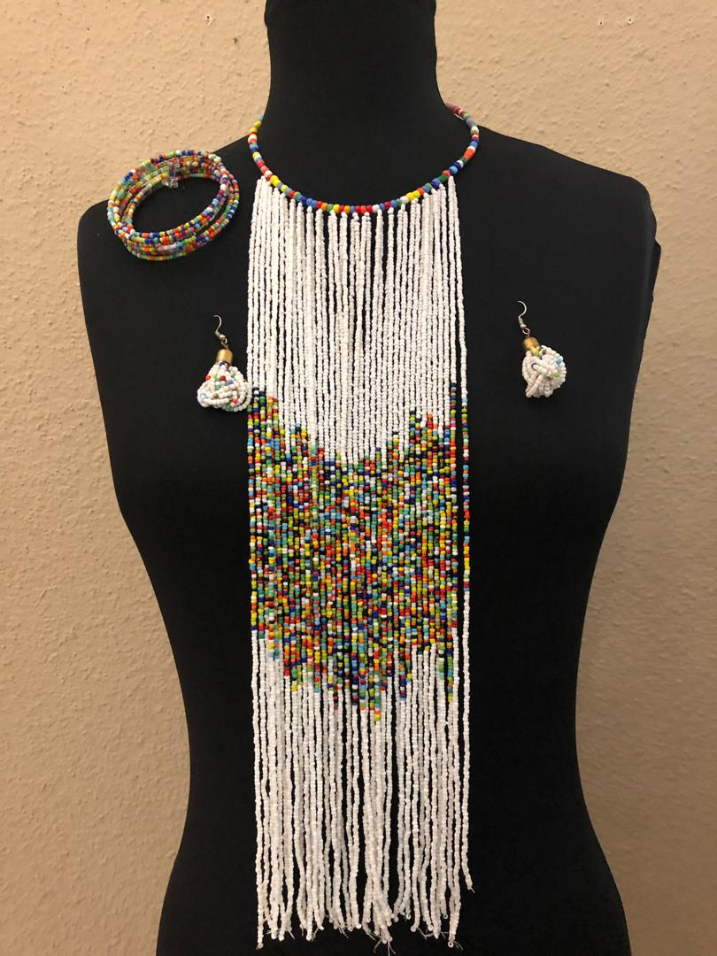 Binta African Bead Necklace  And Earrings Set