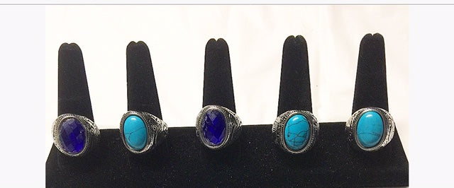 Silver Blue Stone Rings