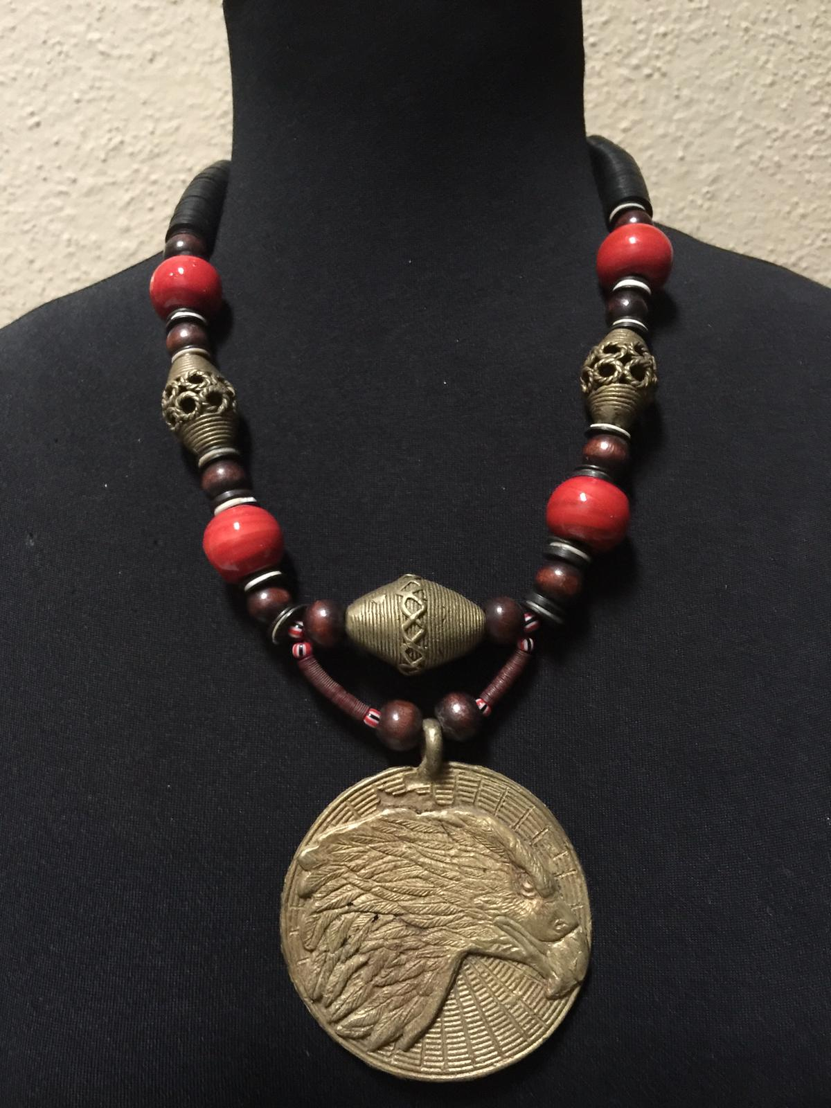 Tribal Eagle Bronze Necklace