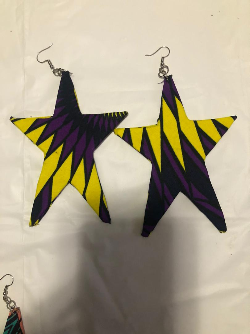 Fabric Star Earrings