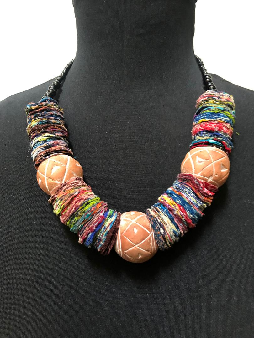Fabric Disc Bead Balls Necklace