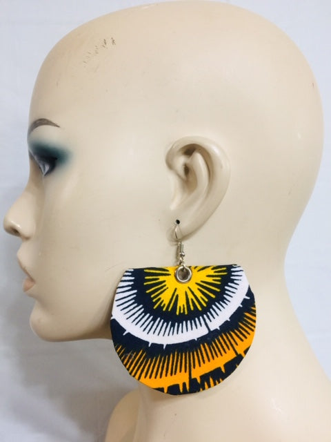Fabric Earrings And Bangles Yellow Set