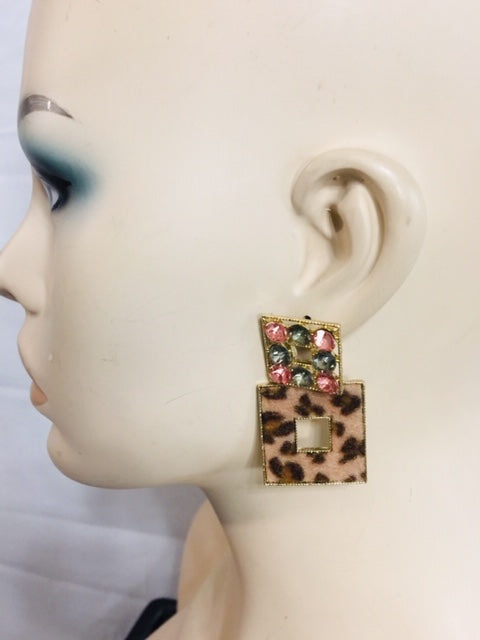 Gold Square Stoned Earrings