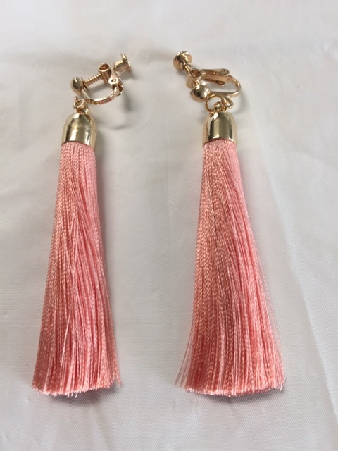 Straight Fringe Clip Earrings