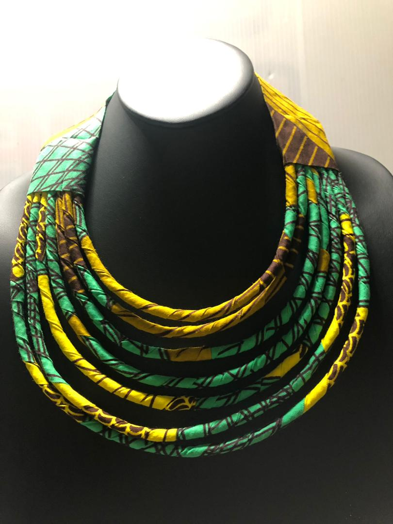 String Choker Fabric Necklace