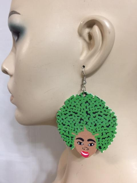 Big Green Afro Wood Earrings