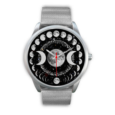 Triple moon wicca watch Silver Watch wc-fulfillment Mens 40mm Silver Metal Mesh