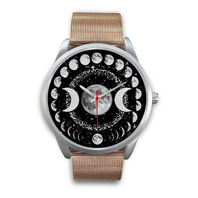 Triple moon wicca watch Silver Watch wc-fulfillment Mens 40mm Rose Gold Metal Mesh