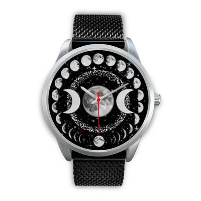 Triple moon wicca watch Silver Watch wc-fulfillment Mens 40mm Black Metal Mesh