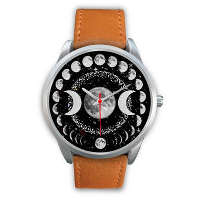 Triple moon wicca watch Silver Watch wc-fulfillment Mens 40mm Brown Leather