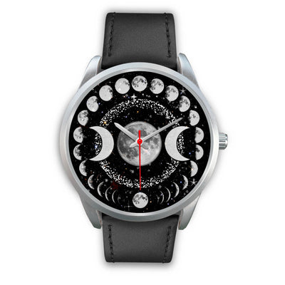 Triple moon wicca watch Silver Watch wc-fulfillment Mens 40mm Black Leather
