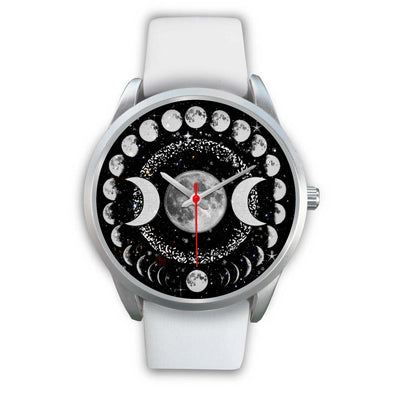 Triple moon wicca watch Silver Watch wc-fulfillment Mens 40mm White Leather