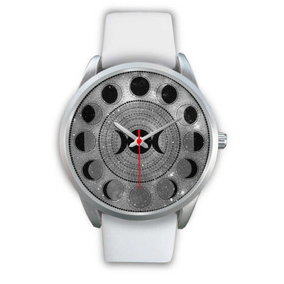 Moon phase wicca watch Silver Watch wc-fulfillment Mens 40mm White Leather