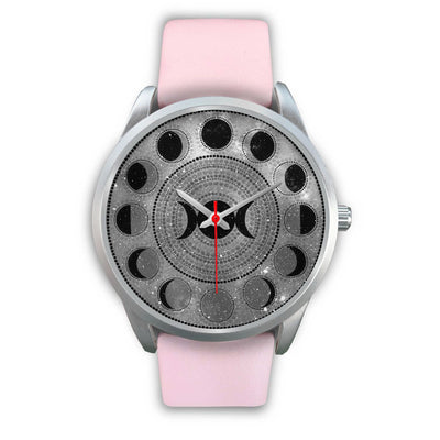 Moon phase wicca watch Silver Watch wc-fulfillment Mens 40mm Pink Leather
