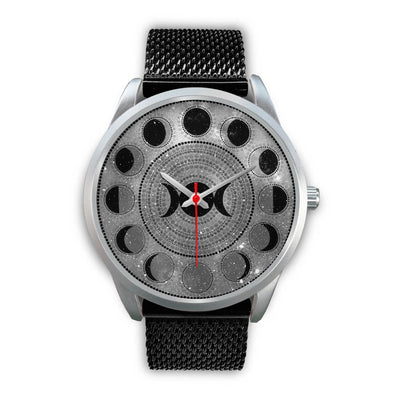 Moon phase wicca watch Silver Watch wc-fulfillment Mens 40mm Black Metal Mesh
