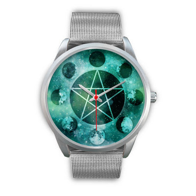 Pentagram moon wicca watch Silver Watch wc-fulfillment Mens 40mm Silver Metal Mesh