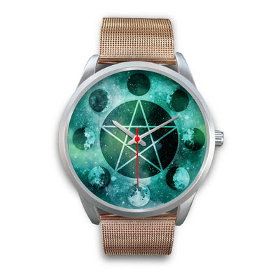 Pentagram moon wicca watch Silver Watch wc-fulfillment Mens 40mm Rose Gold Metal Mesh