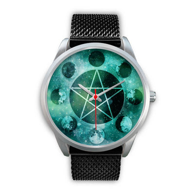 Pentagram moon wicca watch Silver Watch wc-fulfillment Mens 40mm Black Metal Mesh