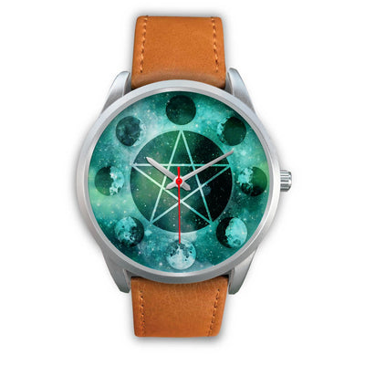 Pentagram moon wicca watch Silver Watch wc-fulfillment Mens 40mm Brown Leather