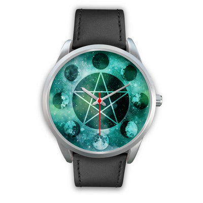 Pentagram moon wicca watch Silver Watch wc-fulfillment Mens 40mm Black Leather