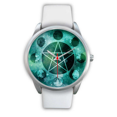 Pentagram moon wicca watch Silver Watch wc-fulfillment Mens 40mm White Leather