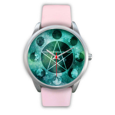 Pentagram moon wicca watch Silver Watch wc-fulfillment Mens 40mm Pink Leather