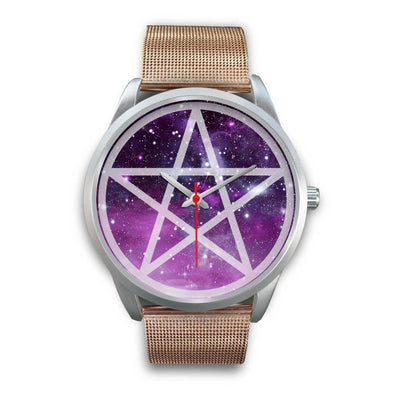 Pentacle wicca watch Silver Watch wc-fulfillment Mens 40mm Rose Gold Metal Mesh