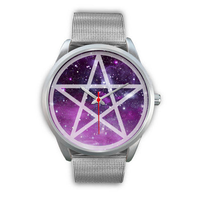 Pentacle wicca watch Silver Watch wc-fulfillment Mens 40mm Silver Metal Mesh