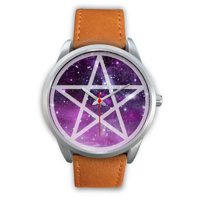 Pentacle wicca watch Silver Watch wc-fulfillment Mens 40mm Brown Leather