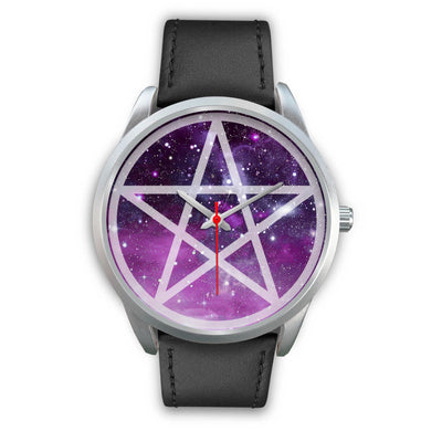 Pentacle wicca watch Silver Watch wc-fulfillment Mens 40mm Black Leather