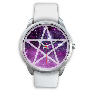 Pentacle wicca watch Silver Watch wc-fulfillment Mens 40mm White Leather