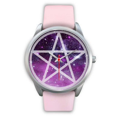 Pentacle wicca watch Silver Watch wc-fulfillment Mens 40mm Pink Leather