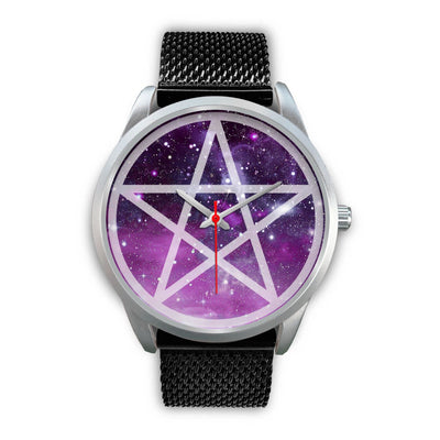 Pentacle wicca watch Silver Watch wc-fulfillment Mens 40mm Black Metal Mesh