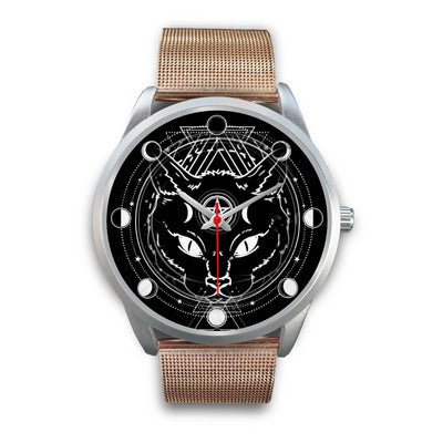 Wicca Cat Watch Silver Watch wc-fulfillment Mens 40mm Rose Gold Metal Mesh
