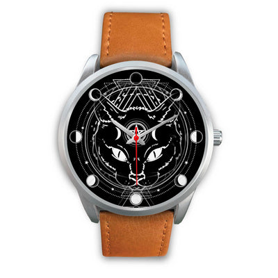 Wicca Cat Watch Silver Watch wc-fulfillment Mens 40mm Brown Leather