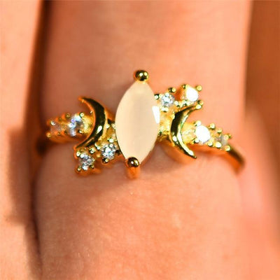 Triple moon Moonstone Ring Ring MoonChildWorld 5 Gold